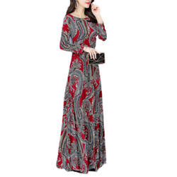 Womens Floral Long Sleeve Maxi Dress Crew Neck Casual Retro Slim Long Dresses US $18.04