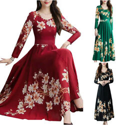 Womens Floral Long Sleeve Slim Swing Skater Casual Long Dress Party Maxi Dresses $15.76