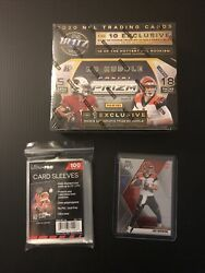 2020 PRIZM FOOTBALL NO HUDDLE BOX NEW SEALED. with Joe Burrow RC and sleeves $850.00