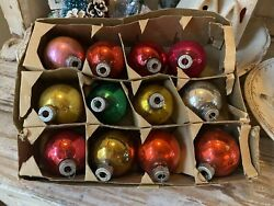 Vintage Set of 12 Glass Ornaments Merry Christmas Shiny Brite Made in USA $25.00