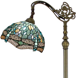 Dragonfly Floor Lamp Tiffany Style Room Reading Antique Stained Glass Shade Gift $225.72