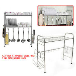 1 2 Tier Over Sink Dish Drying Rack Drainer Washing tool Kitchen Holder ShelfNew $31.00