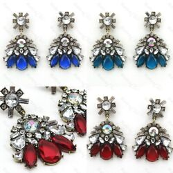 2.5quot;BIG BLUE RED vintage style RHINESTONE CHANDELIER EARRINGS vintage gold tone GBP 3.99