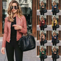 Womens Casual Long Sleeve Solid Leather Suit Jacket Zipper Slim Windproof Coat $14.87