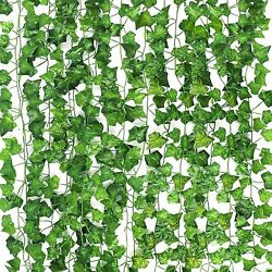 12 PCS Artificial Ivy Leaf Plants Fake Hanging Garland Plants Vine Home Decor $9.95