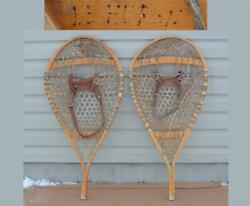 18 x 35 LE HURON Vintage BEAR PAW SNOWSHOES Winter hand made WENDAKE CANADA $115.00