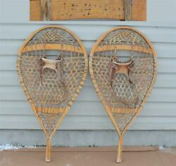 18 x 35 Vintage LE HURON Winter BEAR PAW SNOWSHOES hand Made Wendake QC Canada $115.00