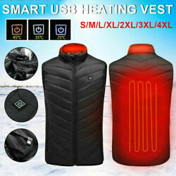 USB Electric Heated Warm Vest Men Women Thermal Jacket Rechargeable Heating Coat $21.46