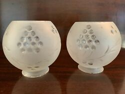 Pair 2 Antique Vintage Round Glass Globes Chandelier Etched Glass Grapes $18.00