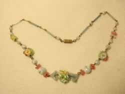 Vintage Brass amp; Glass Pastel Floral Round Beaded Necklace $35.00
