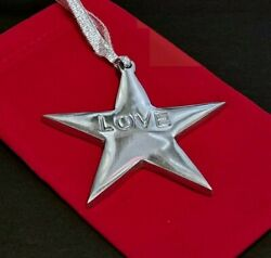 Love Star Christmas Ornament Silver Metal Package Decor 3.25 inch Across $12.95