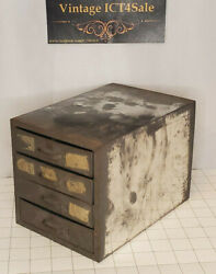 Vintage Parts Chest Storage Metal Box Small Mini Utility Cabinet 4 Drawers $34.98