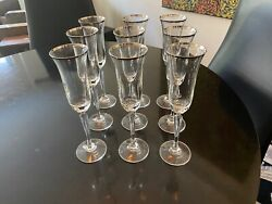 5 Five Beautiful Contemporary Crystal Wine Glasses w Gold Lip $59.99
