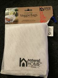 Natural Home Brands Reusable Produce Bags with Drawstrings WP76 Pack of 5 NEW $5.99
