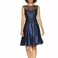 Adriana Papell Beaded Fit N Flare Cocktail Women#x27;s Dress US 10 Deep Navy Gown $39.50