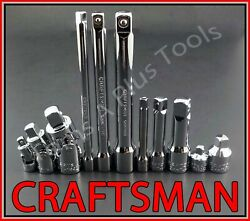 CRAFTSMAN 11pc 1 4 3 8 1 2 ratchet wrench socket extension universal adapter set $29.69