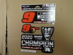 Chase Elliott NASCAR CUP SERIES CHAMPION MULTI USE 3 FAN PACK 5.5quot; X 7.75quot;. $8.99
