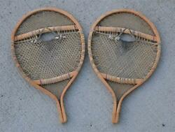 Vintage BEAR PAW SNOWSHOES 16¼ x 26¼ Indian Hand Made Fine Webbing FOR DECOR $149.00