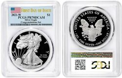2021 W SILVER AMERICAN EAGLE $1 CONGRATULATIONS PCGS PR70DCAM FIRST DAY OF ISSUE $164.99