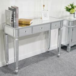 Modern Console Table Mirrored Vanity Table Makeup Desk Silver w 3 Drawers $162.99