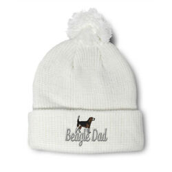 Pom Pom Beanies for Women Beagle Dad Dog Pet Embroidery Dogs Acrylic Skull Cap $17.99