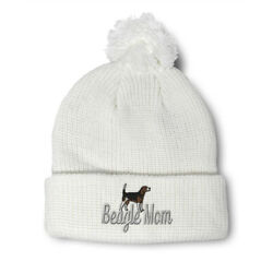 Pom Pom Beanies for Women Beagle Mom Mama Dog Pet Embroidery Acrylic Skull Cap $17.99
