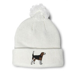 Pom Pom Beanies for Women Beagle Dog Pet Embroidery Dogs Acrylic Skull Cap $17.99