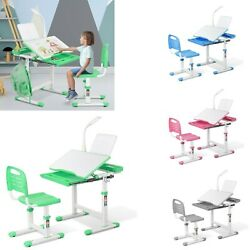 Height Adjustable Students Desk and Chair Set Children Home Study Table w Lamp $109.99