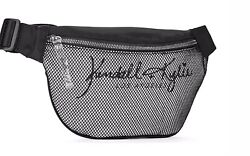 Kendall Kylie Black Mixed Mesh Fanny Pack Crossbody Purse Travel NWT