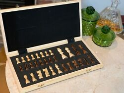 Hand Crafted Wooden Portable Folding travel 15quot; Board Chessboard Game Chess Set $32.00