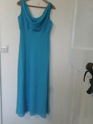 Turquoise Glitter ball evening cowl neck dress Betsy And Adam Linda Burnell 14 P