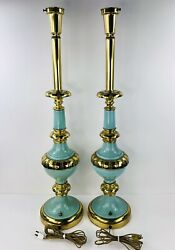STIFFEL TORCHIERE LAMPS TURQUOISE BRASS HOLLYWOOD REGENCY PAIR 2 $450.00