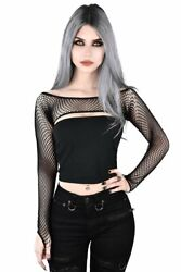 Killstar Bite Me Fishnet Bolero Gothic Punk Long Sleeve Top Shirt KSRA000076