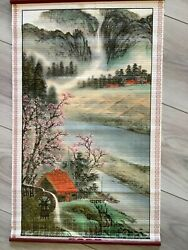 VINTAGE ASIAN CHINESE BAMBOO WALL HANGING SCROLL $24.88