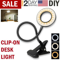 LED Desk Light Reading Lamp Clip On Table Lamp Bed Office Garage Dimmable Lights $13.99
