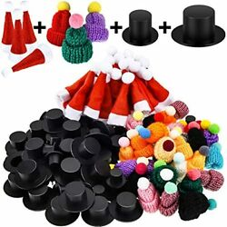 120 Pieces Mini Christmas Knit Hat Red Santa Xmas Black Plastic Doll Crafts For $30.69