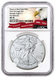 2021 W American Silver Eagle Struck West Point Mint NGC MS70 FR Eagle PRESALE $57.30