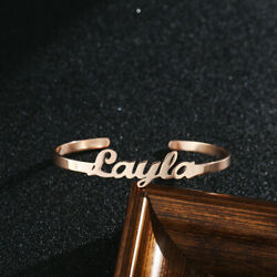 Womens Mens Personalized Custom Name Bracelet Bangle Stainless Steel Gold Gifts $8.72