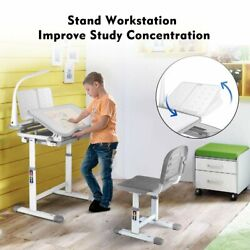 Kids Desk and Chair Set Height Adjustable School Children Study Table LED Lamp $108.99