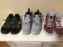 Lot Of 3 Youth Sneakers Nike And Vans Used Men Size 8