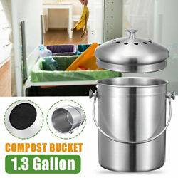 1.3 Gallon Stainless Steel Compost Bin with Lid Includes Charcoal Filter Silver $23.99