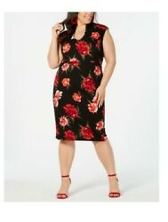 Almost Famous Trendy Plus Size Floral Printed Sheath Dress Size 1X Black TAGS $9.99