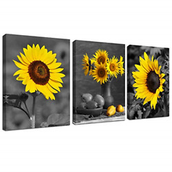Sunflower Decor Framed Wall Art Black and White Yellow Flowers Painting Home 3 $35.86