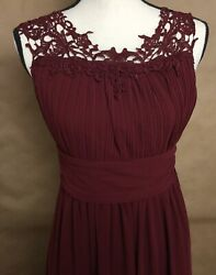 New Long BRIDESMAID PROM EVENING FORMAL MAXI DRESS GOWN BURGUNDY JUNIORS SZ S