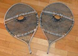 HUGE Antique BEAR PAW SNOWSHOES 22¼ x 35¼ Indian Hand Made Fine Webbing CANADA $250.00