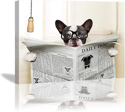 French Bulldog Sitting On Toilet Reading Newspaper Canvas Wall Art Framed For $37.32