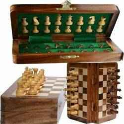 Vintage Wooden Chess Set Wood Board Hand Carved Crafted Pieces Folding Game 10 $43.84