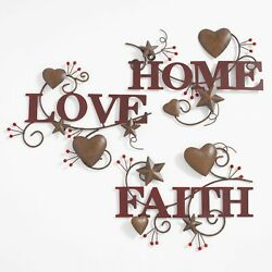 Set Of 3 Wall Décor Home Red Love Faith Metal Art Kitchen Gift. $24.95