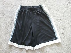 Champion Shorts Black Gray White Basketball Men#x27;s Large with Pockets Preowned $9.49