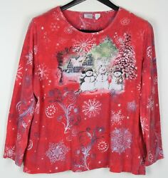 HOLIDAY EDITIONS XXL Plus Women#x27;s Top Long Sleeve Snowman Winter Cabin Red $11.99